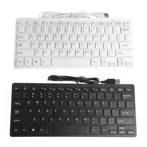 78 Keys Slim Mini USB Wired Keyboard Multimedia Notebook Laptop Computer Keyboards Plastic Clavier Accessories Black/White