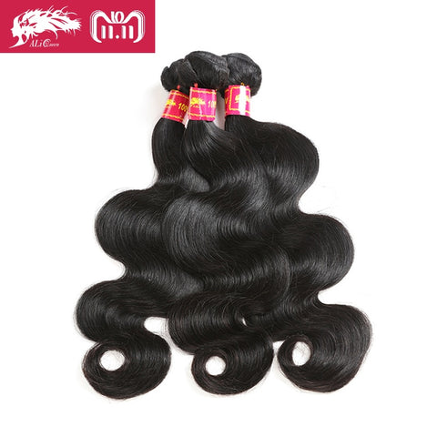 Ali Queen Hair Products 3 Pcs Brazilian Hair Weave Bundles Body Wave 100% Human Hair Weaving Natural Color 8-30 Inch Remy Hair
