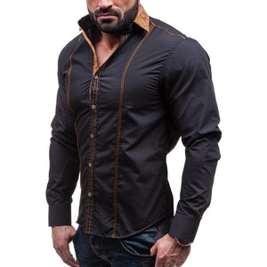 Men Shirts Casual Slim Solid Long Sleeve Shirt Men Business Social White Dress Shirt Plus Size Cotton Clothes