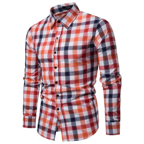 Men Shirt Korean Long Sleeve Plaid Shirts Casual Slim Fit Dress Shirt