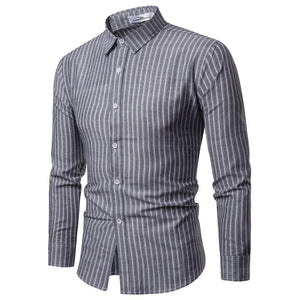 Men Shirt Korean Long Sleeve Stripe Shirts Casual Slim Fit Dress Shirt