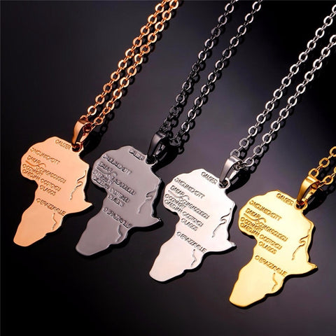 SHUANGR Hiphop Africa Necklace Long Chain African Map Unisex Gift for Men/Women 4 Colors Hiphop Pendant Ethiopian Jewelery