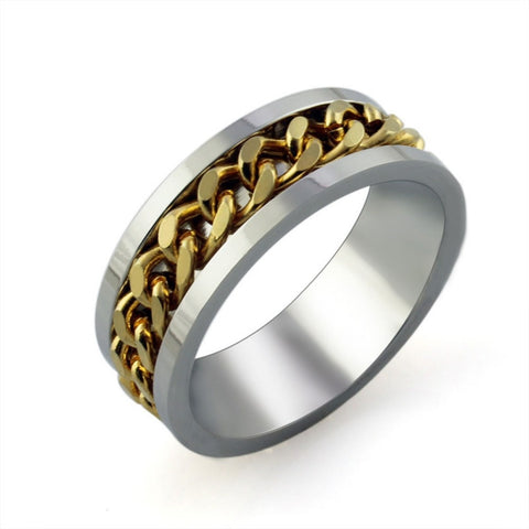Fashion Chain Rotation Gold Silver Plated Stainless Steel Male Finger Ring Charming Jewelery Accessories