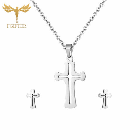 Vintage Hollow Cross Stainless Steel Earrings and Necklace Woman Jewelry Sets of Female Costume Jewelery