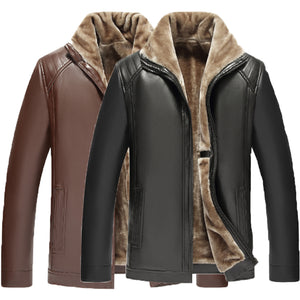Warm Winter Mens Coats PU Leather Jackets Fleece Thick Zipper Slim Fit Outwear Male Coats Fashion Mens Outfit Jaqueta Masculina