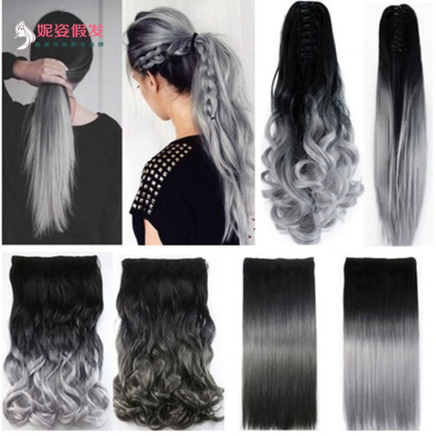Women's Fashion Silver Gray Ombre Color Curly Straight Clip on Hair Extensions Ponytail Hairpieces Hair Tail