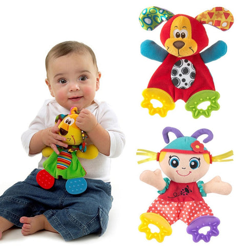 Newborn Baby Cute Playmate Plush Doll Toys Kids Cartoon Animals Hand Bells Rattles Toy Baby Teether Kids Teething Toys For Baby