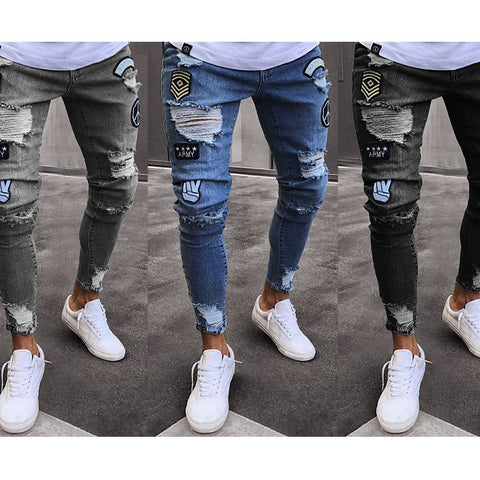 Men Slim Fit Denim Jeans Pant Destroyed Skinny Pants Biker Slim Long Trousers
