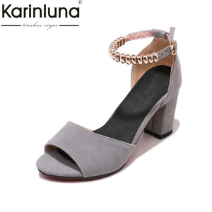 Karinluna New Good Quality Square High Heels Ankle Strap Metal Decoration Shoes Woman Casual Summer Sandals Plus SIZE 34-45
