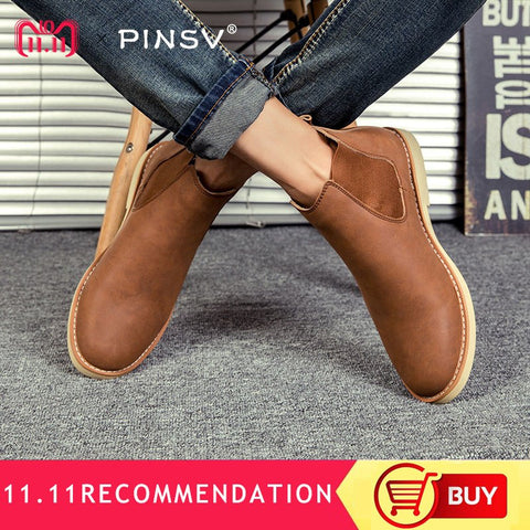 PINSV 2018 Winter Mens Chelsea Boots British Style Plush Men Winter Boots Retro Super Warm Ankle Boots For Men botas de hombre
