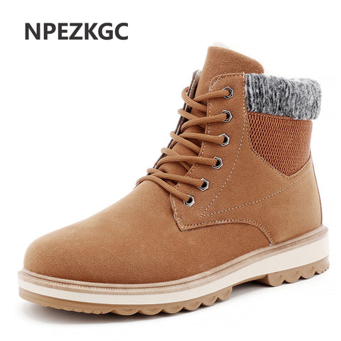 Warm Men's Winter Suede Leather Ankle Boots Men Waterproof Snow Boots Leisure Winter Work Boots Mens Shoes