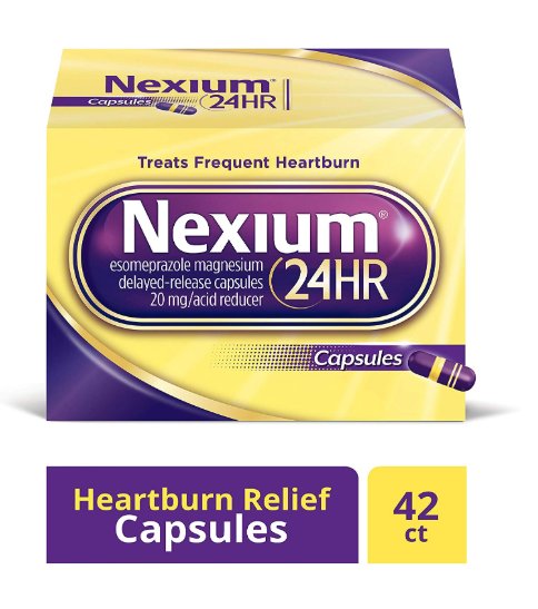 Nexium 24HR (42 Count, Capsules) All-Day, All-Night Protection from Frequent Heartburn Medicine with Esomeprazole Magnesium 20mg Acid Reducer 胃药