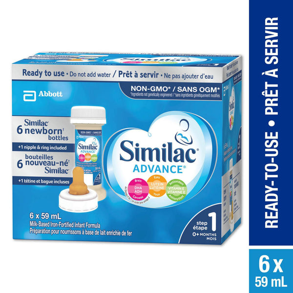Similac® Advance® Step 1 Ready-to-Use Baby Formula, 6 x 59 mL, with Nipple 雅培一段水奶带奶嘴