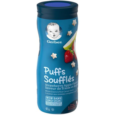 GERBER PUFFS, Strawberry Apple, Baby Snacks 42g 泡芙草莓苹果,婴儿零食42g