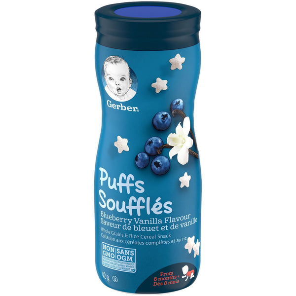 GERBER PUFFS, Blueberry Vanilla, Baby Snacks 42 g 泡芙蓝莓香草,婴儿零食42克