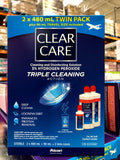 Clear Care Cleaning & Disinfecting Solution with Lens Case, Twin Pack, 480ml Each 隐形眼镜清洁液套装2*480 大瓶装