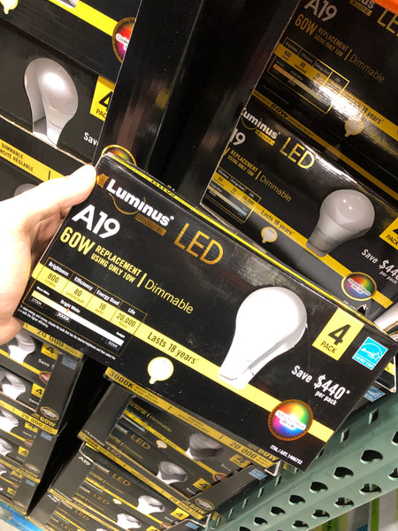 Luminus Dimmable 10W A19 LED Pack of 4  可调光LED灯泡4个