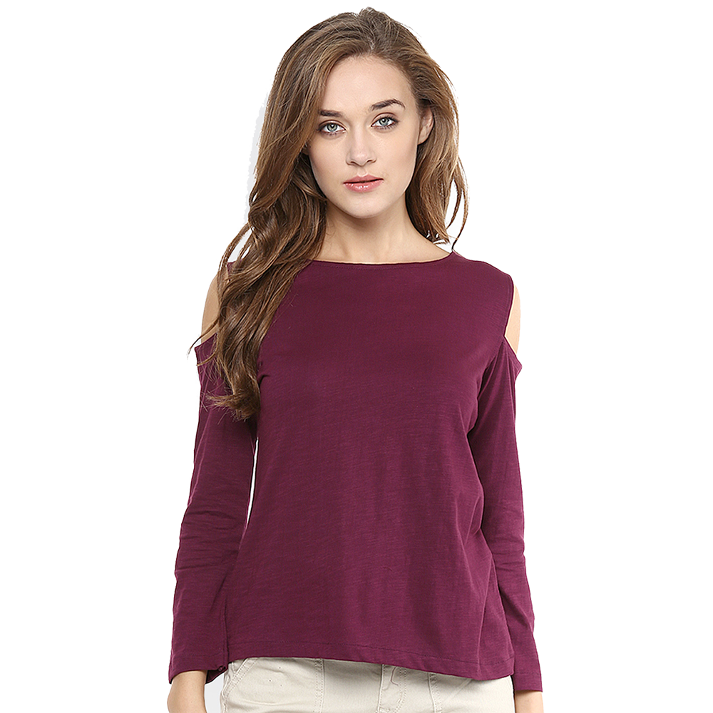 maroon off shoulder t-shirt
