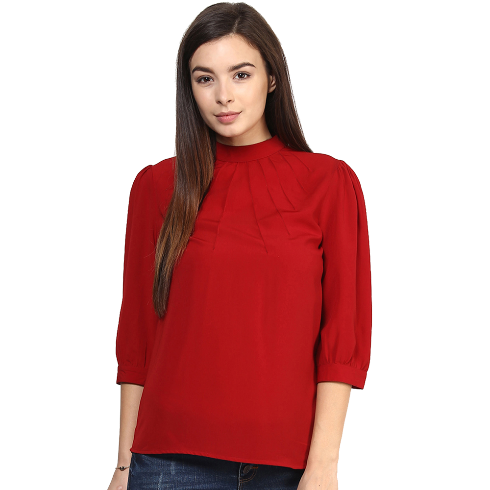 red full neck top