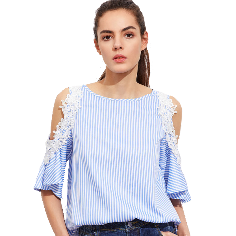 Open Shoulder Back Striped Top