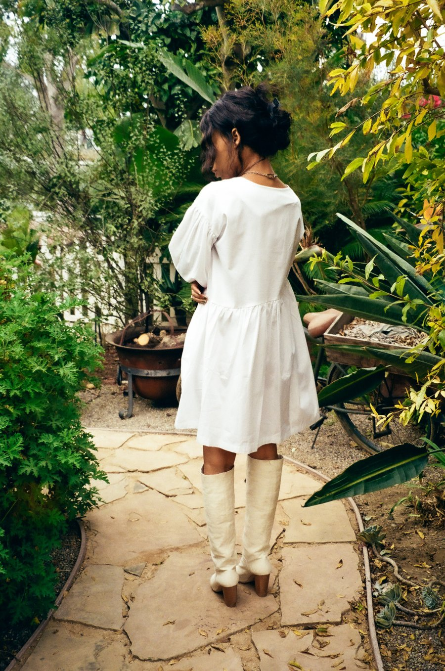 ET TIGRE SHORT SLEEVE JAYME DRESS IN WHITE