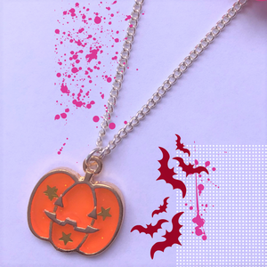 Glitter Orange Pumpkin Necklace