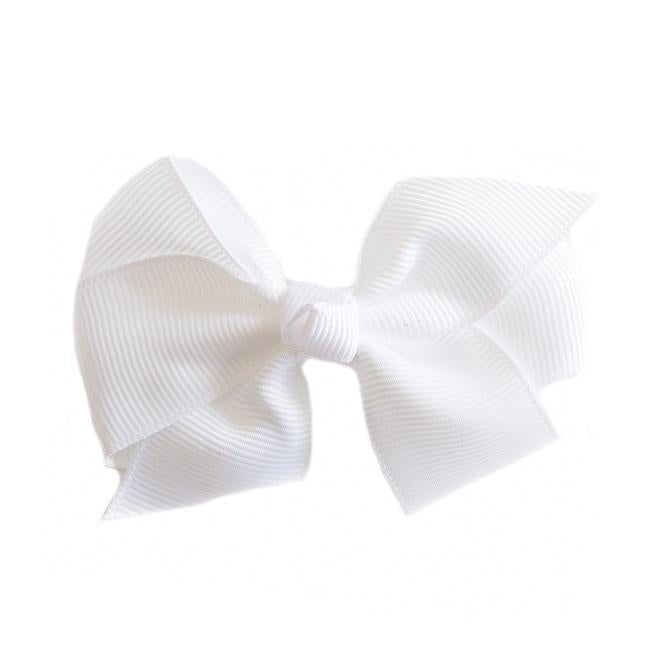 Small Grosgrain White Bows - Set of 2