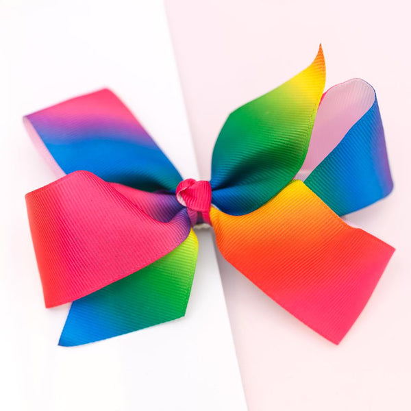 Large Grosgrain Neon Rainbow Bow