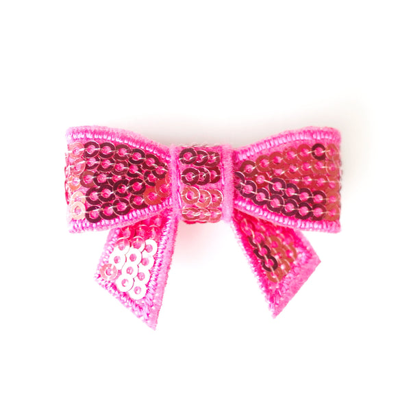 Hot Pink Sequin Bows - Set of 2