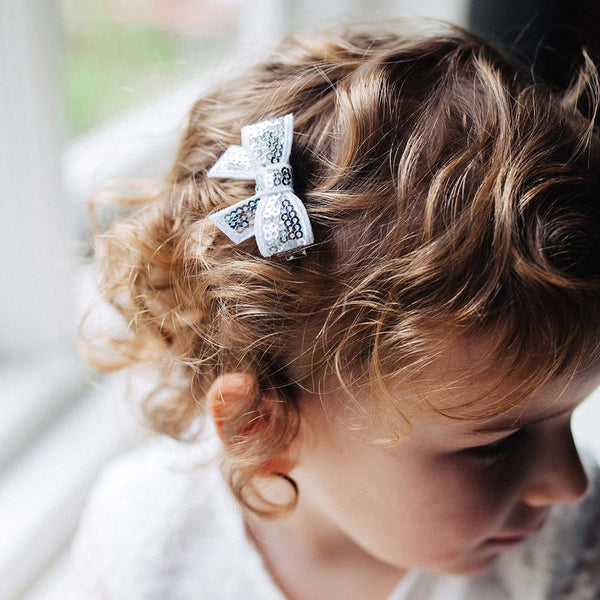 Silver Sequin Bows - Set of 2
