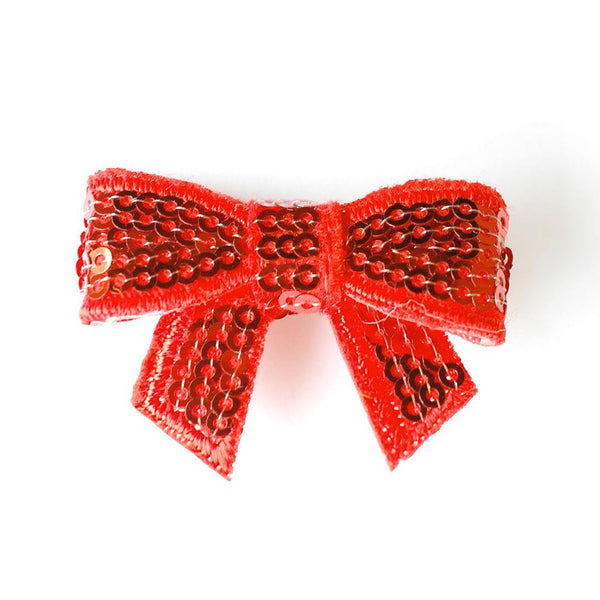Red Sequin Bows - Set of 2