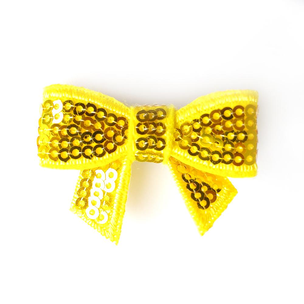 Yellow Sequin Bows - Set of 2