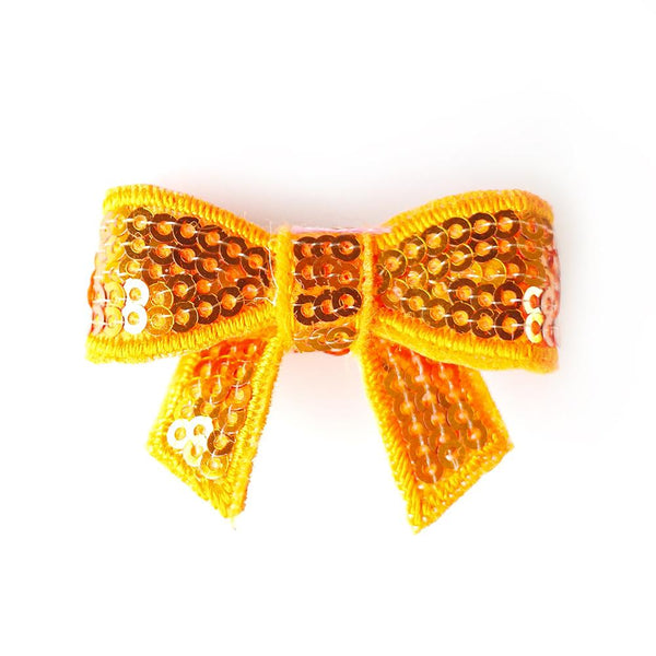 Orange Sequin Bows - Set of 2