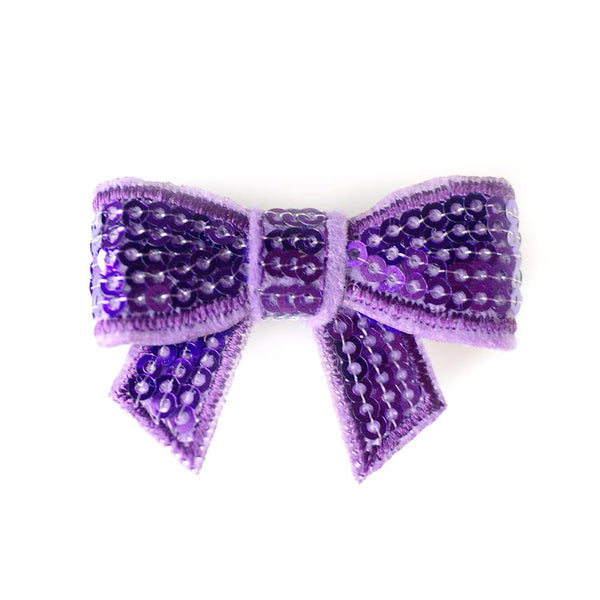 Deep Purple Sequin Bows - Set of 2