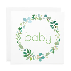 Blue Garland Baby Card