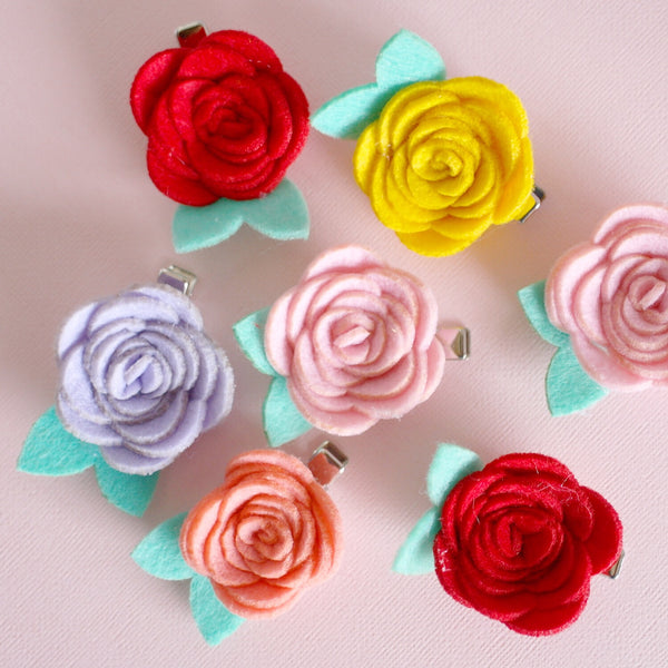 Felt Flower Clips - Set of 2