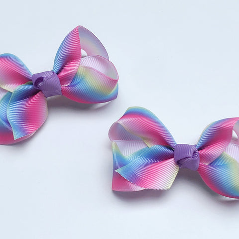 Small Grosgrain Rainbow Bows - Set of 2