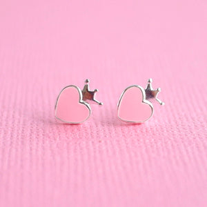 Queen of Hearts Earrings Pale Pink Sterling Silver