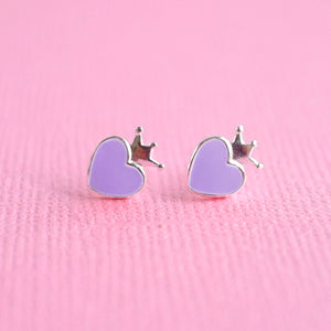 Deep Purple Crowned Heart Earrings Sterling Silver