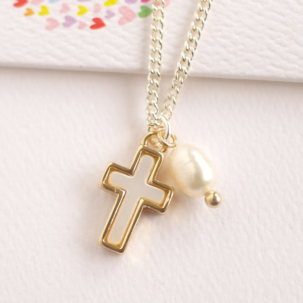 Mother of Pearl Cross Necklace with  Fresh Water Pearl