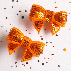 Sparkly Pumpkin Sequin Bows - Set of 2