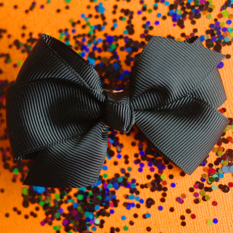 Spooky Black Grosgrain Bows - Set of 2