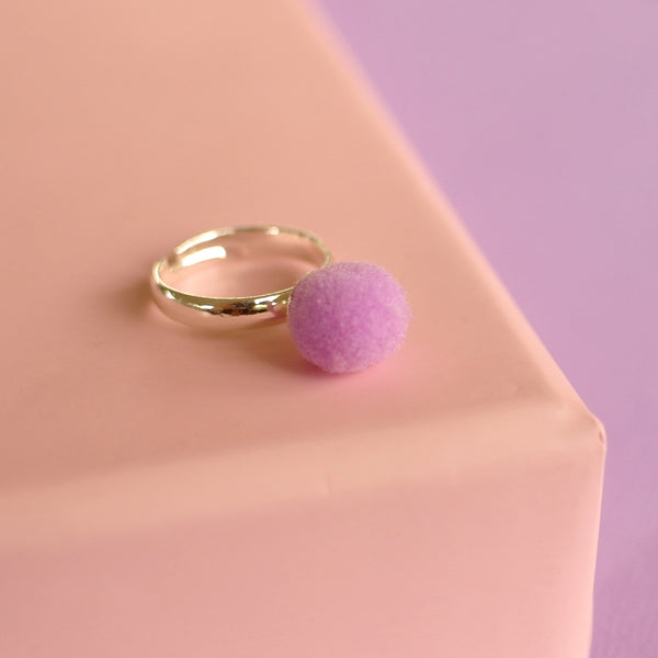 Lilac Pom Pom Ring (Adjustable Size) NEW