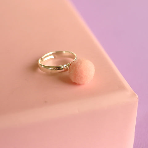 Pink Pom Pom Ring (Adjustable Size) NEW