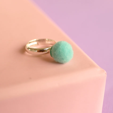 Aqua Blue Pom Pom Ring (Adjustable Size) NEW