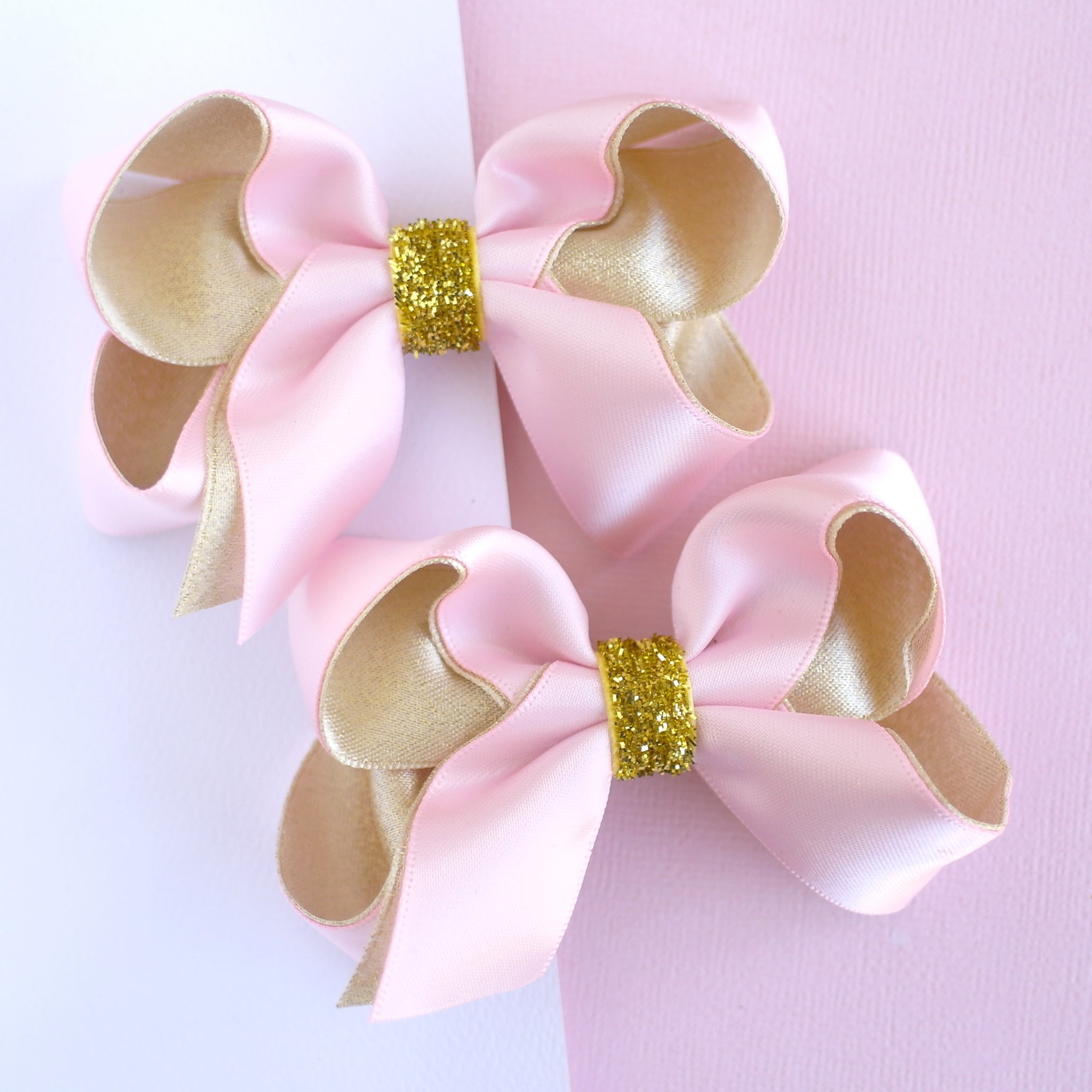Gold and Pink Ribbon Bows - Set of 2