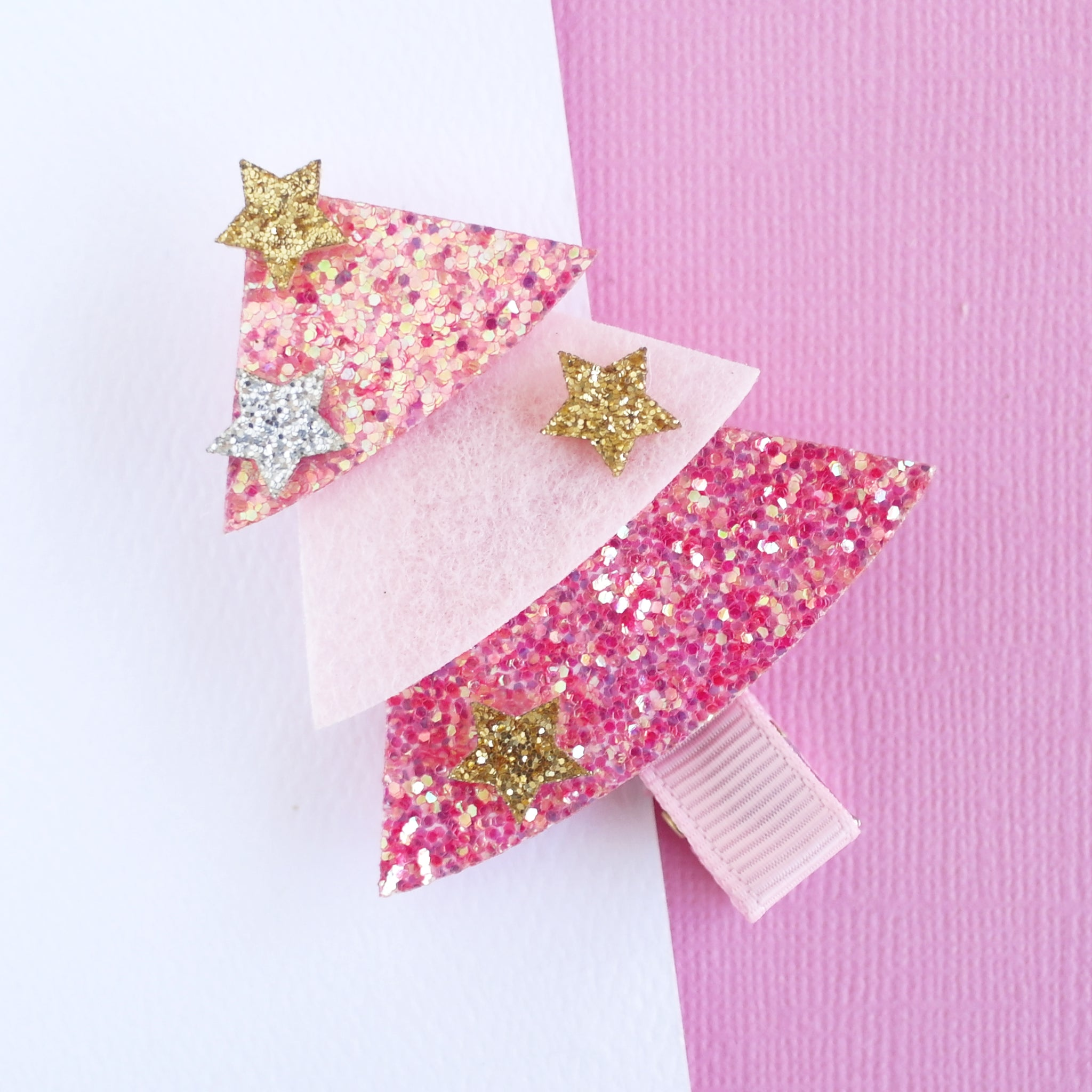 Pink Christmas Tree  Hair Clip