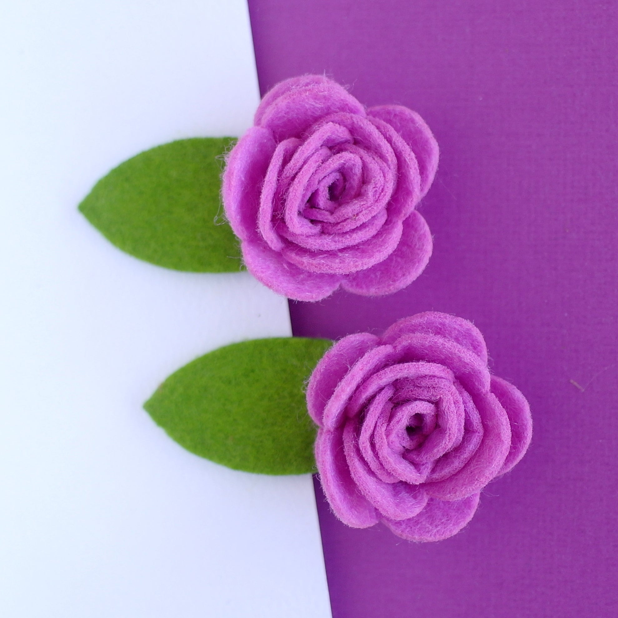 Purple Felt Rose Clips - Set of 2