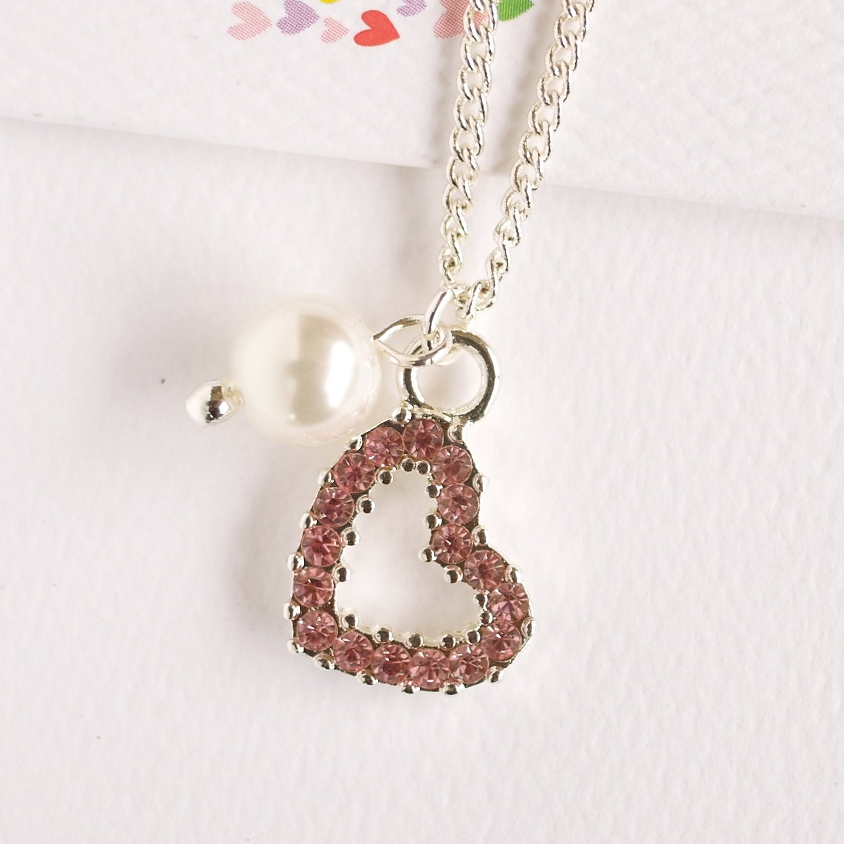 Pink Diamante Heart Necklace with pearl