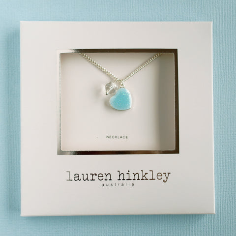 Blue Glitter Heart Necklace